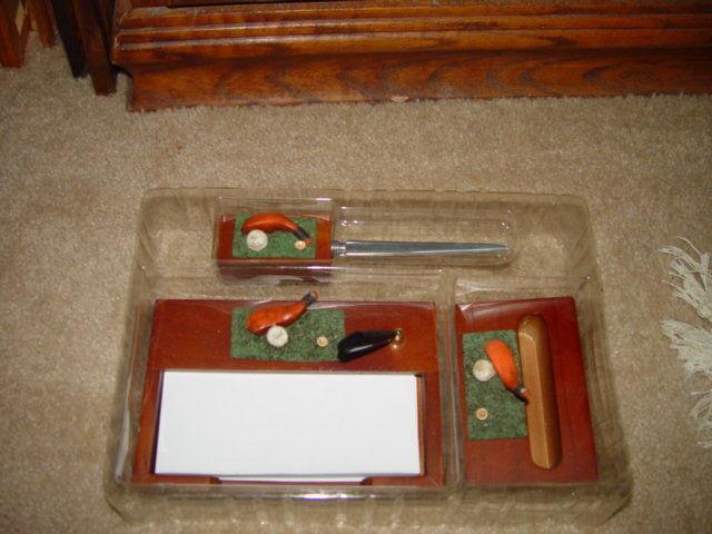 Classic 3 in 1 Golf Desk Set  W/ Letter Opener, Card Holder, & Memo Pad image 5