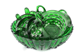 Anchor Hocking Green Set of 1 Footed Round Bowl and 8 Cups Glass Bubble ... - $58.40