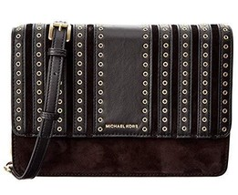 NWT Michael Kors Women's Brooklyn Grommet Crossbody Large Handbag, Black - $162.26