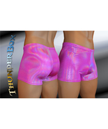 Cerise Reflective Hologram Spandex Mens, Womens Gladiator Shorts , Dance... - $25.00