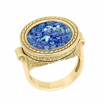 14K Gold Unisex Ancient Roman Glass ring - $610.00