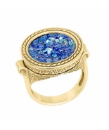 14K Gold Unisex Ancient Roman Glass ring - £466.51 GBP