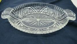 "Vintage Pressed Glass Divided Relish Dish 10"" x 6.5"" Servingware Kitchen - $13.85"