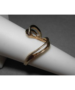 14k Yellow Gold Swirl Ribbon Ring  Diamond Acce... - $89.00