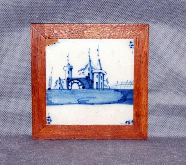 Antique Dutch Delft Blue White Tile Castle Landscape Pond Walnut Frame
