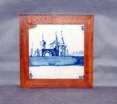 Antique Dutch Delft Blue White Tile Castle Landscape Pond Walnut Frame image 2