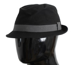 Dolce & Gabbana Black Gray Cotton Fedora Trilby Hat - $83.85+