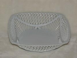 Romamerica Fine Porcelain Handmade Hand Made 2000 Romania White Basket Dish - $29.69