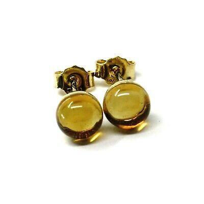 "18K YELLOW GOLD BUTTON LOBE EARRINGS, CABOCHON CITRINE DIAMETER 6mm, 0.25"""
