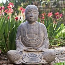 Handmade Stone Antiqued Hairless Buddha Statue Outdoor Garden Accent Decor - $76.90