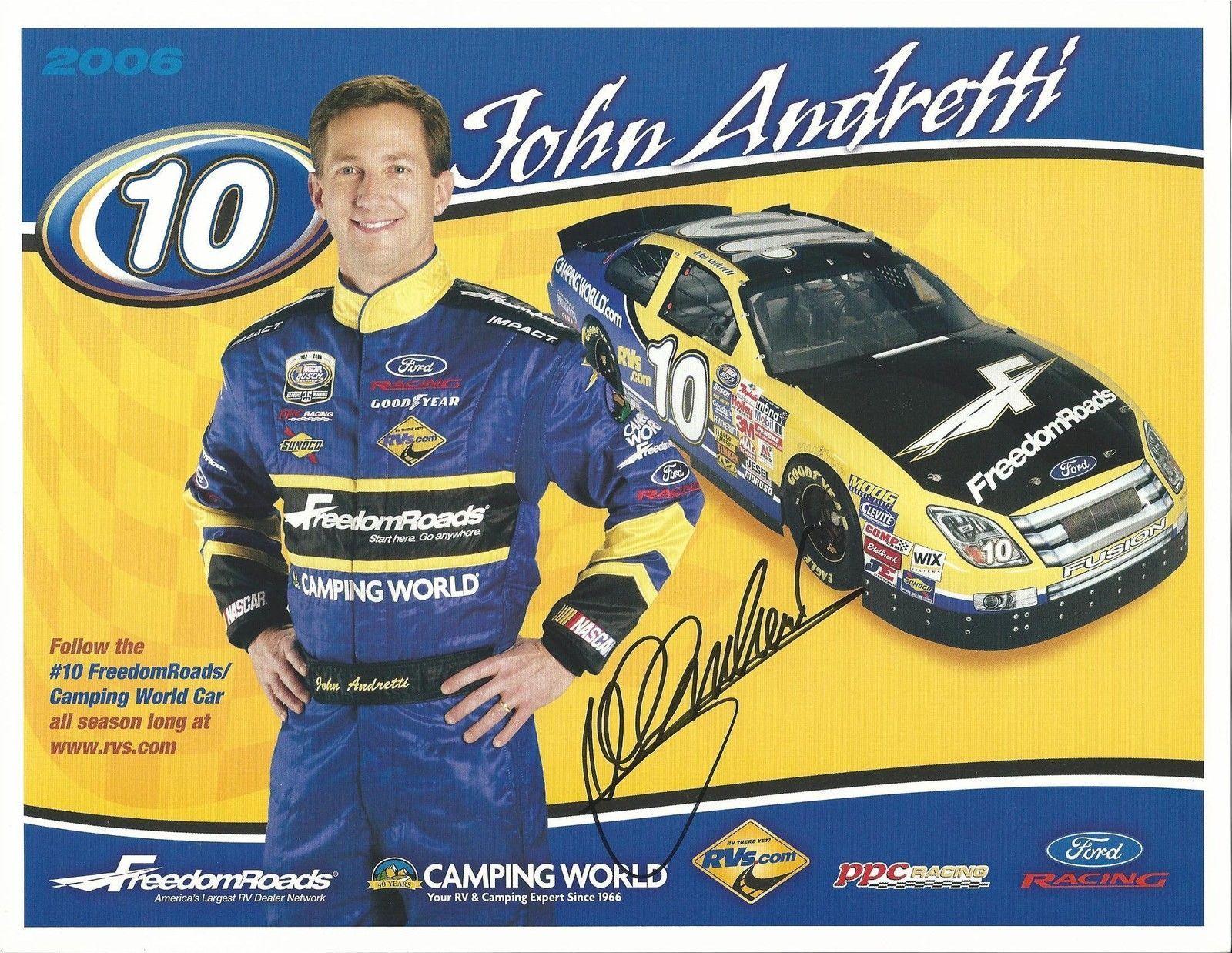 2006 JOHN ANDRETTI #10 FREEDOMROADS POSTCARD SIGNED