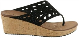 Skechers Relaxed Step Wedge Thong Sandal Dazzled Black 9M NEW A287759 - $42.55
