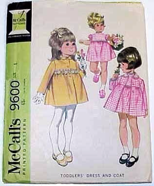 1968 COAT & DRESS Pattern 9600-m Child Size 1 - Complete