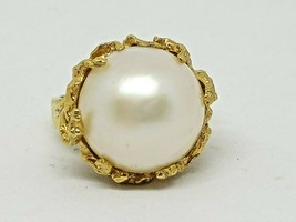 VINTAGE LADIES 18KT YELLOW GOLD 17MM PEARL RING SIZE 7.5 - $741.09