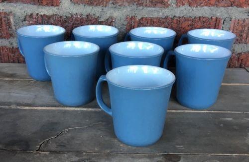"Vintage Set Of 8 PYREX Slate Blue D Handle Coffee Cup Mugs 3-5/8"" Corning USA - $28.05"