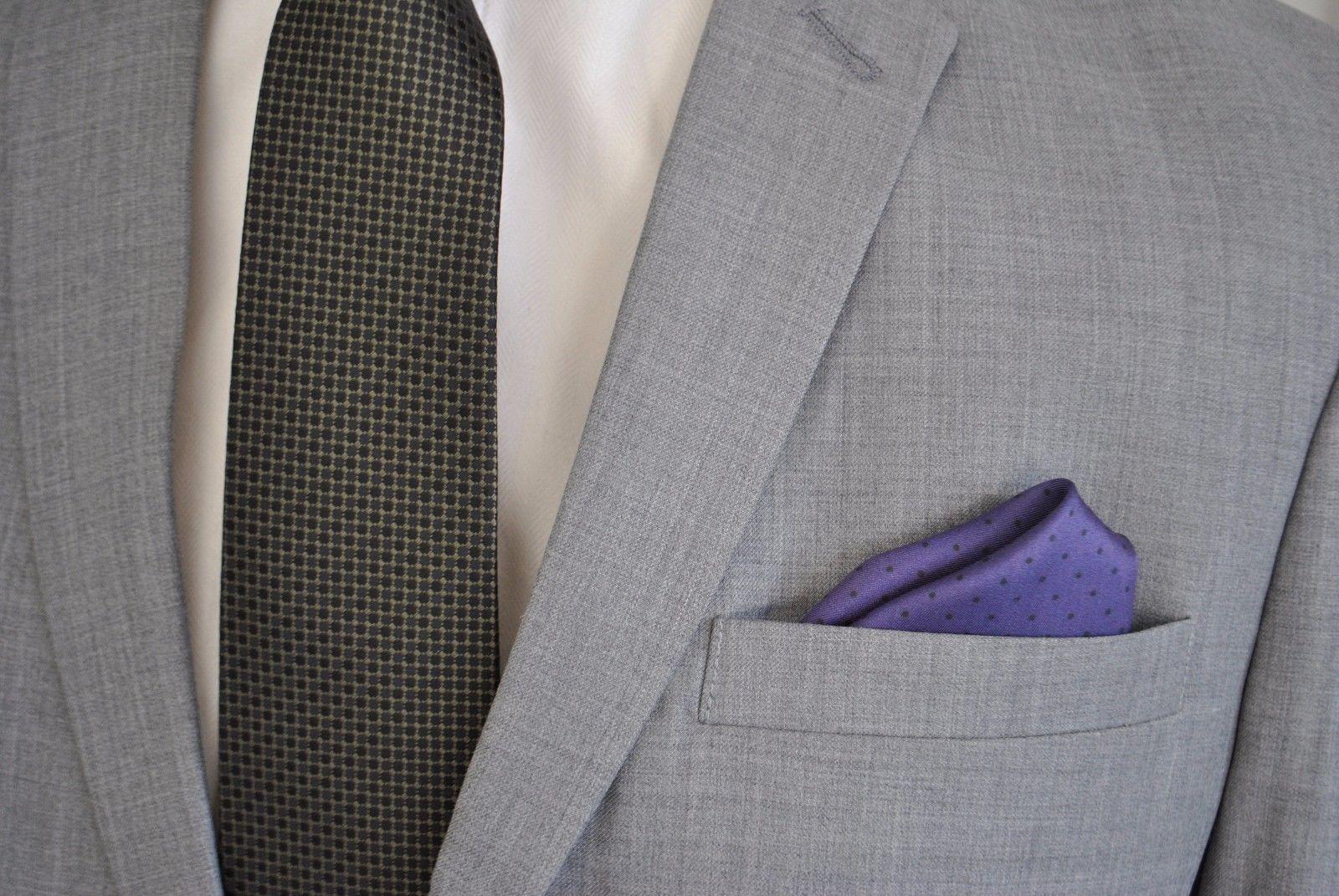 Frederick Thomas 100% Seide violett & Schwarz Gepunktet Taschentuch ft1656