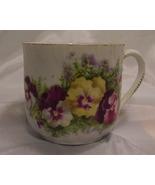 Antique/vintage moustache cup - ceramic/porcelain?  pansies - GC - $15.95