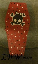 Red Girly Skull and Crossbones Coffin Wood Handmade Trinket Box Jewelry - $9.99