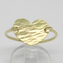 18K YELLOW GOLD FLAT HEART RING, FINELY WORKED, SATIN, HAMMERED, MADE IN ITALY image 2