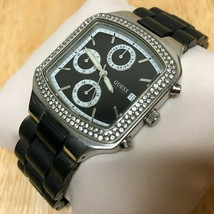GUESS Lady 50m Silver Black Analog Quartz Chronograph Watch Hour~Date~Ne... - $32.29
