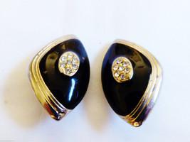 Vintage Silver Tone Metal Crystal Black Enamel Design Clip Earrings - $9.50