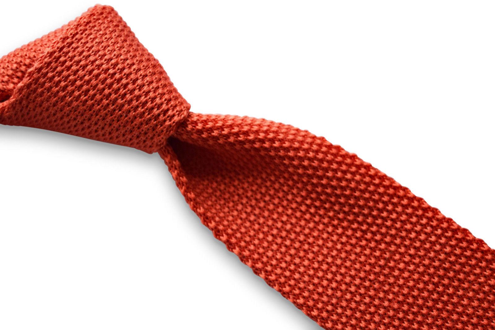Frederick Thomas Orange Brûlé Uni cachemire Hommes Cravate en maille ft3394
