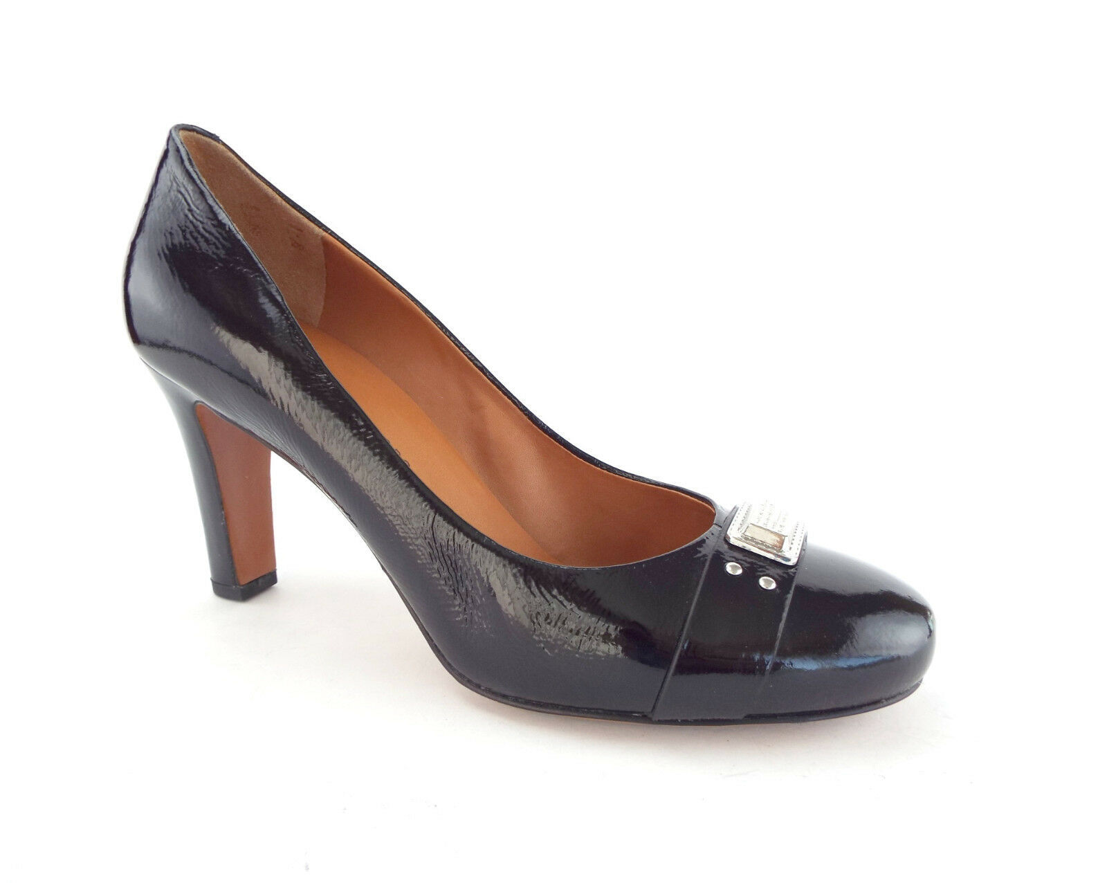 Primary image for MARC JACOBS Size 8.5 Black Patent Round Toe Pumps Heels Shoes 39