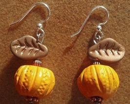 Autumn Handcrafted Pumpkin Earrings on Surgical Steel Ear Hooks Hand Mad... - $18.00