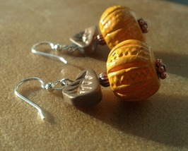 Autumn Handcrafted Pumpkin Earrings on Surgical Steel Ear Hooks Hand Made In USA - $18.00