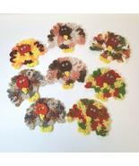 Vintage Crocheted Thanksgiving Turkey Pins Brooch Handmade - $19.85