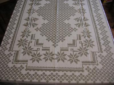 Rectangle JACQUARD WOVEN NATURAL TABLECLOTH Taupe & Beige Geometric Floral 80x60