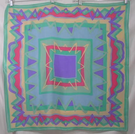 Primary image for Elaine Gold Blue Green Purple Pink Silk Scarf  31 sq in