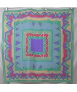 Elaine Gold Blue Green Purple Pink Silk Scarf  31 sq in - $32.28