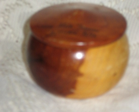 Primary image for Wooden Trinket Box with Lid - Round-Souvenir Nine Mile Tavern Hollister WI