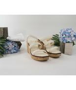 Jimmy Choo Athenia Cream Leather Strappy Cork Wedge Platform Sandals 39 ... - $370.76
