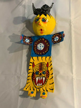Mexican Folk Art Hand Painted Coconut Shell Yellow Girl Tiger Dress Wall... - $29.69