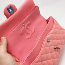 AUTHENTIC Chanel PINK PATENT QUILTED LEATHER MEDIUM Classic Double Flap Bag SHW image 6