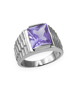 Sterling Silver Mens Square CZ February Birthstone Watchband Ring - $64.99