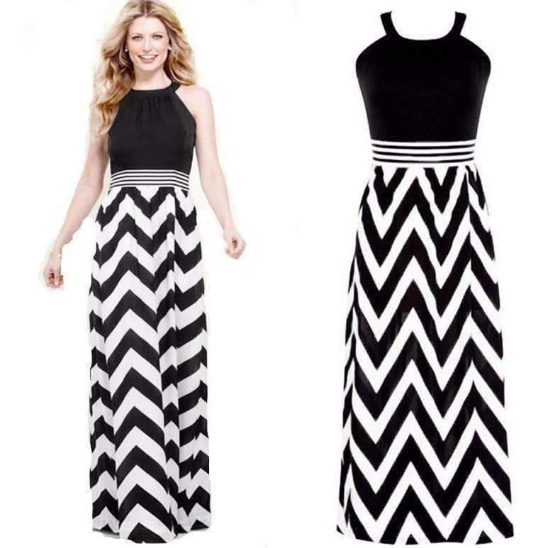Boho Striped Sleeveless Chiffon Women Maxi Dress