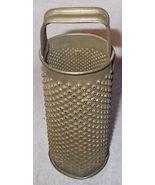 Antique Primitive Round Bell Tin Kitchen Utensil Grater Hand Solder Stra... - $35.00