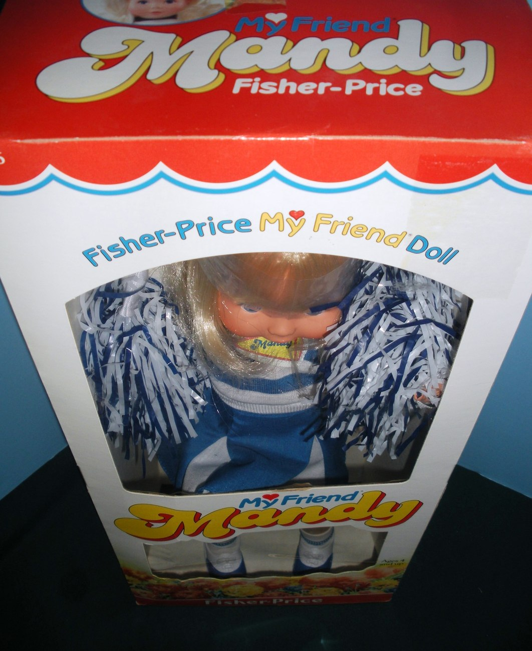 Rare Fisher Price #216 My Friend Mandy Cheerleader Doll Never Removed from Box!