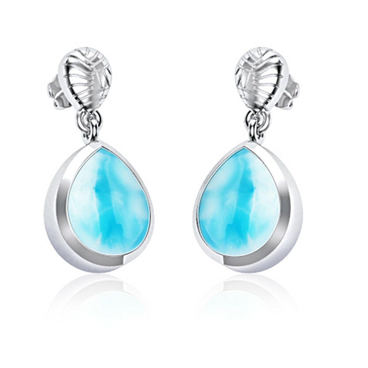 Dominican Sky Blue 10 x 8 MM Pear Shape Larimar Handmade Drop 925 Silver Earring