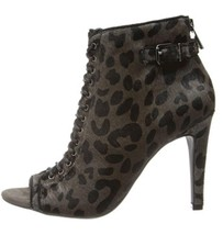 Women's Shoes Jessica Simpson ERLENE 2 Peeptoe Bootie Heels Grey Combo Cheetah - $62.99