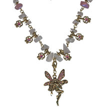 Antique Gold Blushing Fairy Rose Quartz Necklace - $32.00
