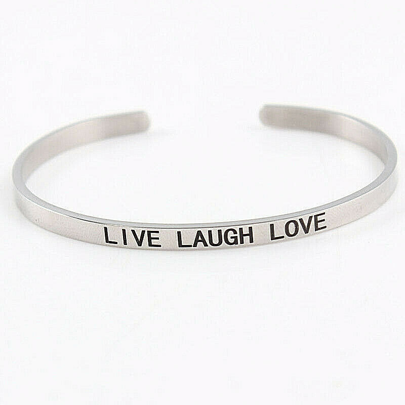 Primary image for LIVE LAUGH LOVE Statement Bangle Solid Stainless Steel NEW