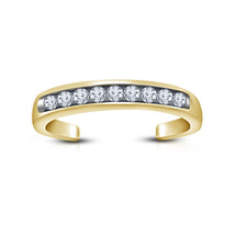 Round Cut White Sim Diamond 925 Sterling Silver 14k Yellow Gold Finish Toe Ring - $9.99