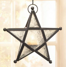 Wrought iron frame white glass hanging star candleholder lantern candles... - $16.00