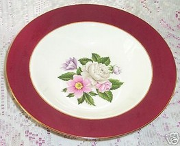Homer Laughlin Cavalier Margaret Rose Rim Soup Cereal Bowls 8 3/8 Burgundy 4 Lot - $25.24