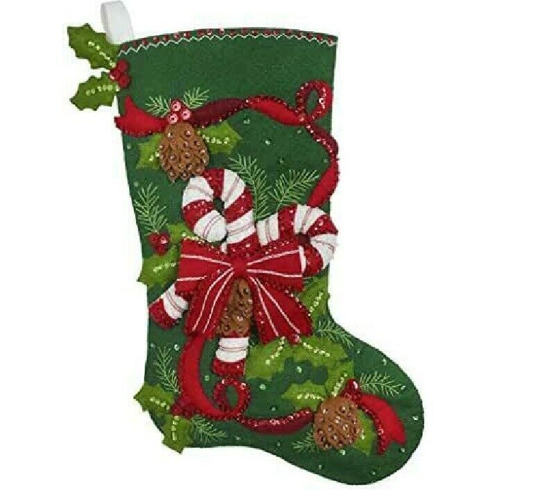 Primary image for Bucilla - 'Candy Cane and Ribbons', Christmas Felt Stocking Applique Kit, 86971E