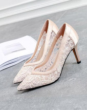 8cm Champagne Leather Lace High Heels Shoes,Shoe lace styles,Lace Evenin... - £56.30 GBP